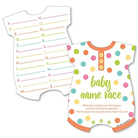 Baby Neutral - Baby Name Race Cards - Baby Shower Game - Set of 20