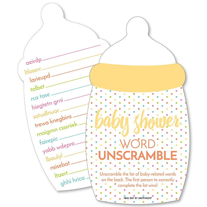 Baby Neutral - Baby Word Unscramble Cards - Baby Shower Game - Set of 20