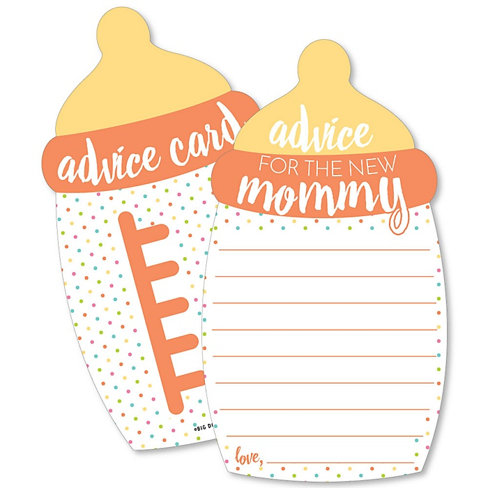 Baby Neutral - Bottle Wish Card Baby Shower Activities - Shaped Advice Cards - Set of 20