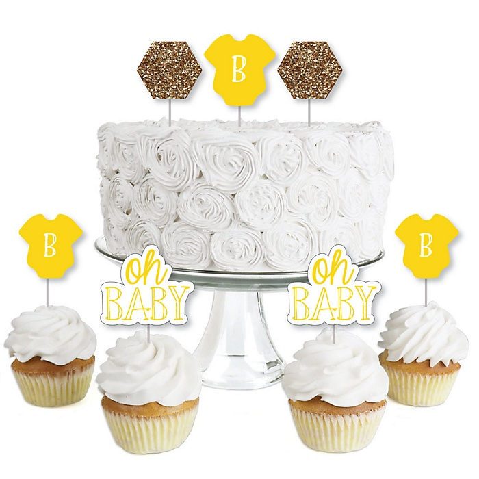 Baby Neutral - Dessert Cupcake Toppers - Baby Shower Clear Treat Picks - Set of 24