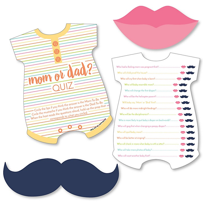 Baby Neutral - Mom or Dad Quiz Cards with Mustache and Lip Cutouts - Baby Shower Game - Set of 20