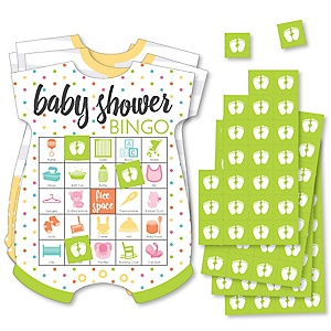 Baby Neutral - Picture Bingo Cards and Markers - Baby Shower Shaped Bingo Game - Set of 18