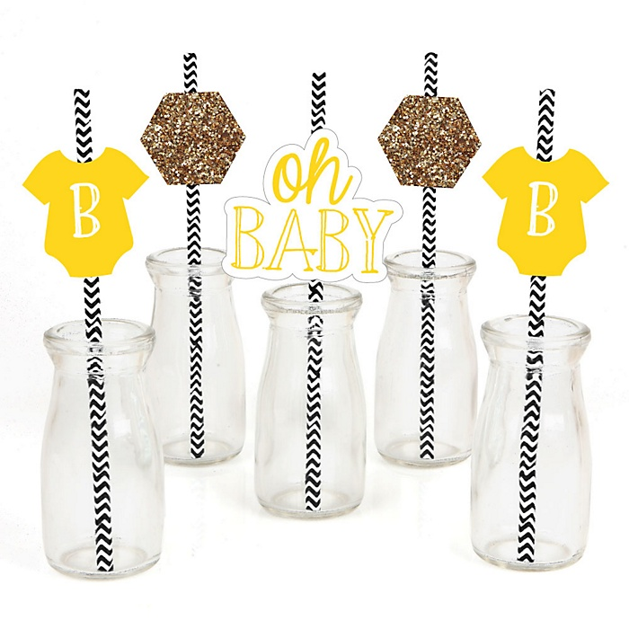 Baby Neutral - Paper Straw Decor - Baby Shower Striped Decorative Straws - Set of 24