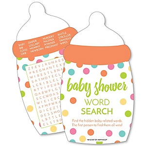 Baby Neutral - Baby Word Search Puzzle - Baby Shower Game - Set of 20