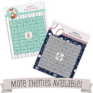 Personalized Baby Shower Game Bingo Cards