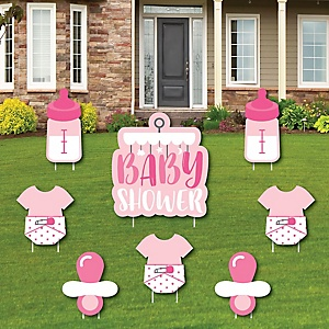 Girl Baby Shower - Yard Sign and Outdoor Lawn Decorations - Pink Baby Shower Yard Signs - Set of 8