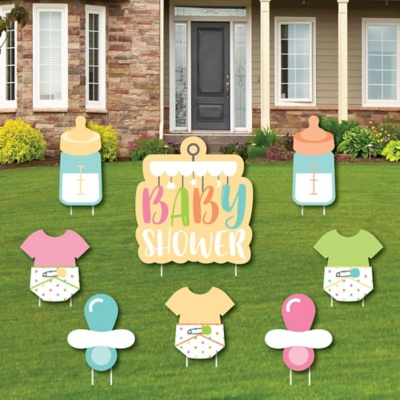 Hello Little One Yellow And Gray Baby Shower Theme