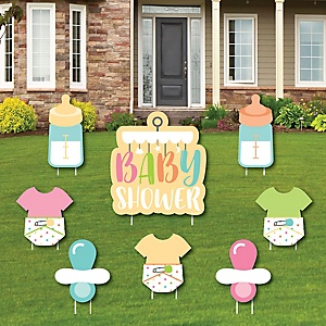 Neutral Baby Shower - Yard Sign and Outdoor Lawn Decorations - Baby Shower Yard Signs - Set of 8