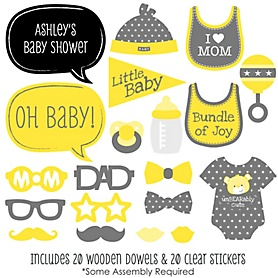 Baby Neutral - 20 Piece Photo Booth Props Kit