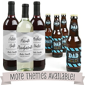 Baby Announcement - Wine and Beer Bottle Labels