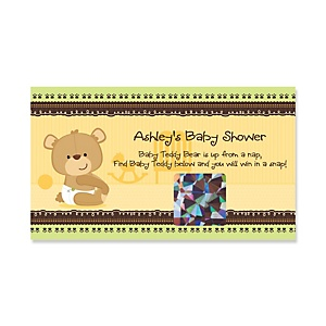 Baby Teddy Bear - Personalized Baby Shower Game Scratch Off Cards - 22 ct