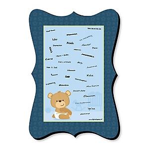 Baby Boy Teddy Bear - Unique Alternative Guest Book - Baby Shower Signature Mat