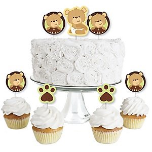 Baby Teddy Bear - Dessert Cupcake Toppers - Baby Shower Clear Treat Picks - Set of 24
