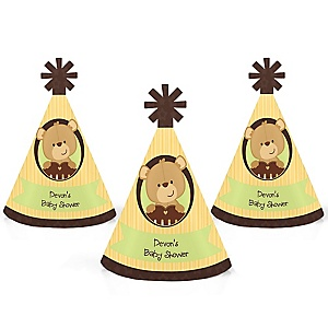 Baby Teddy Bear - Personalized Mini Cone Baby Shower Party Hats - Small Little Party Hats - Set of 10