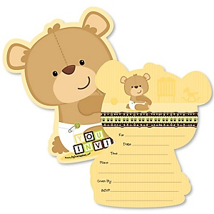 Baby Teddy Bear - Shaped Fill-In Invitations - Baby Shower Invitation Cards with Envelopes - Set of 12