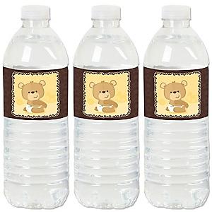 Baby Teddy Bear - Baby Shower Water Bottle Sticker Labels - Set of 20