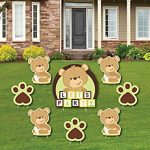 Baby Teddy Bear - Yard Sign & Outdoor Lawn Decorations - Baby Shower Yard Signs - Set of 8