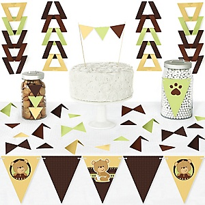 Baby Teddy Bear - DIY Pennant Banner Decorations - Baby Shower Triangle Kit - 99 Pieces