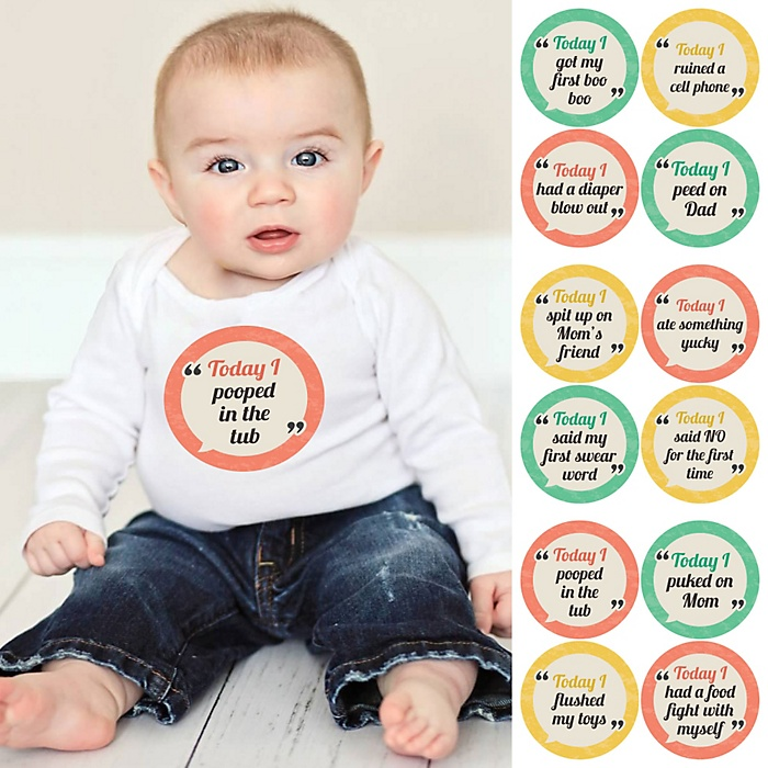 Baby's First Funny Milestone Stickers - Set of 12