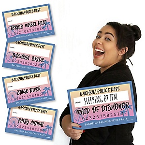 Bachella - Palm Springs Boho Bachelorette Party Mug Shots - 20 Piece Photo Booth Props Kit
