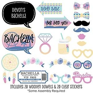 Bachella - 20 Piece Palm Springs Boho Bachelorette Party Photo Booth Props Kit