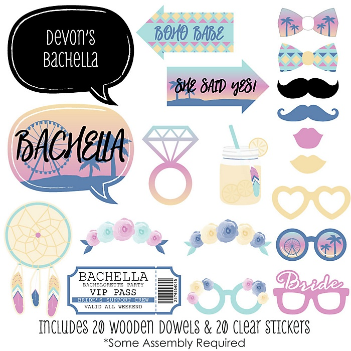 Bachella - 20 Piece Palm Springs Boho Bachelorette Party Photo Booth Props Kit