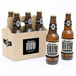Bachelor Brew - Decorations for Women and Men - 6 Bachelor Party Beer Bottle Label Stickers and 1 Carrier