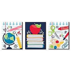 Back to School - First Day of School Classroom Decorations, Teacher Wall Art and Kids Room Decor - 7.5 x 10 inches - Set of 3 Prints