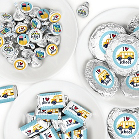 Back to School - Mini Candy Bar Wrappers, Round Candy Stickers and Circle Stickers - First Day of School Classroom Decorations Candy Favor Sticker Kit - 304 Pieces