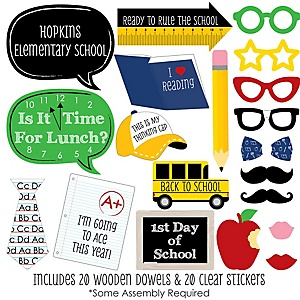 Classic Back To School - 20 Piece 1st Day of School Decorations and Photo Booth Props Kit