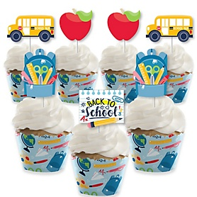Back to School - Cupcake Decoration - First Day of School Classroom Cupcake Wrappers and Treat Picks Kit - Set of 24