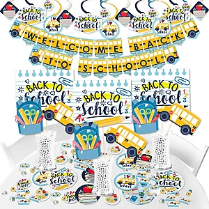 Back to School - First Day of School Classroom Supplies - Banner Decoration Kit - Fundle Bundle