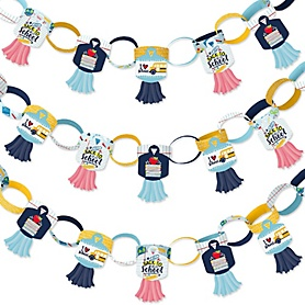 Back to School - 90 Chain Links and 30 Paper Tassels Decoration Kit - First Day of School Classroom Decorations Paper Chains Garland - 21 feet