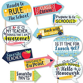 Funny Back To School - 10 Piece First Day of School Classroom Photo Booth Props Kit