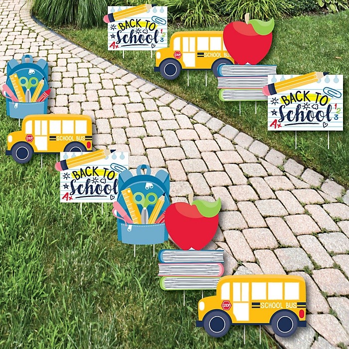 Back to School - Backpack, School Bus, Apple and Books Lawn Decorations - Outdoor First Day of School Classroom Yard Decorations - 10 Piece