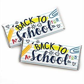 Back to School -  Candy Bar Wrapper First Day of School Classroom Favors - Set of 24