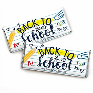 Back to School - Personalized Candy Bar Wrapper First Day of School Classroom Favors - Set of 24