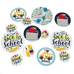 Back to School - First Day of School Classroom Giant Circle Confetti - Party Decorations - Large Confetti 27 Count
