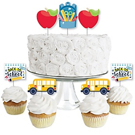 Back to School - Dessert Cupcake Toppers - First Day of School Classroom Decorations Clear Treat Picks - Set of 24