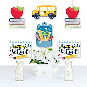 Back to School - Backpack, School Bus, Apple and Books Decorations Diy First Day of School Classroom Essentials - Set of 20