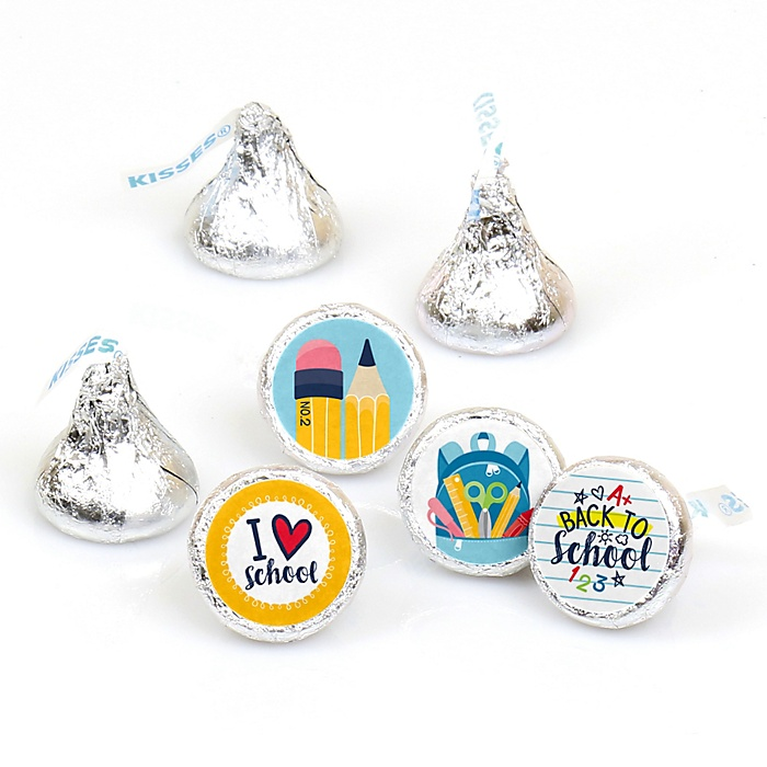 Back to School - Round Candy Labels First Day of School Classroom Party Favors - Fits Hershey's Kisses - 108 ct
