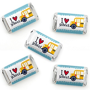 Back to School - Mini Candy Bar Wrapper Stickers - First Day of School Classroom Decorations Small Favors - 40 Count