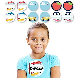Back to School - First Day of School Classroom Name Tags - Sticker Set of 12