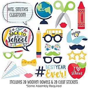 Back to School - 20 Piece First Day of School Classroom Decorations and Photo Booth Props Kit