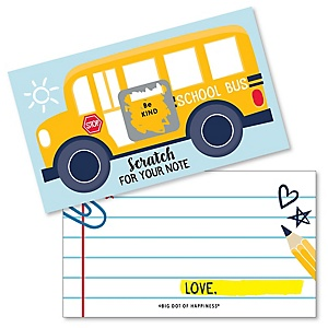 Back to School - First Day of School Kids Lunch Box Notes - Scratch Off Cards - 22 ct