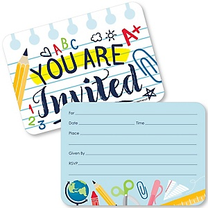 Back to School - Shaped Fill-In Invitations - First Day of School Classroom Invitation Cards with Envelopes - Set of 12