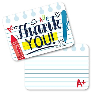 Back to School - Shaped Thank You Cards - First Day of School Classroom Thank You Note Cards with Envelopes - Set of 12
