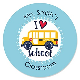 Back to School - Personalized First Day of School Classroom Decorations Circle Sticker Labels - 24 Count