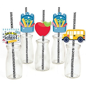 Back to School - Paper Straw Decor - First Day of School Classroom Striped Decorative Straws - Set of 24