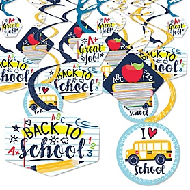 Back to School - First Day of School Classroom Hanging Decor - Party Decoration Swirls - Set of 40